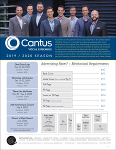 Ratecard for Cantus's 19-20 Season