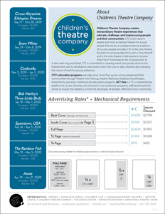 Ratecard for Children Theatre's 19-20 Season