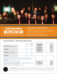 Ratecard for Minnesota Boychoir's 19-20 Season