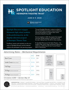 Ratecard for Hennepin Theatre Trust's Spotlight Education Program