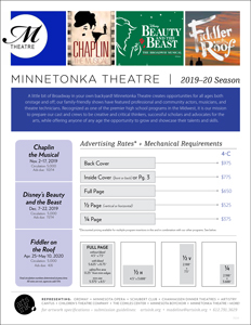 Ratecard for Minnetonka Theatre's 19-20 Season