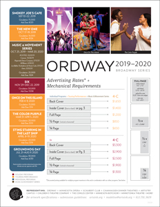 Ratecard for Ordway's 19-20 Season