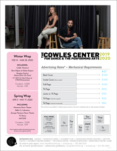 Ratecard for The Cowles Center's 19-20 Season